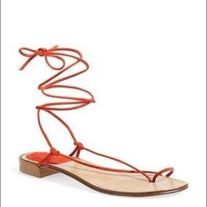 Stuart weiman orange leather lace up sandal sz 8